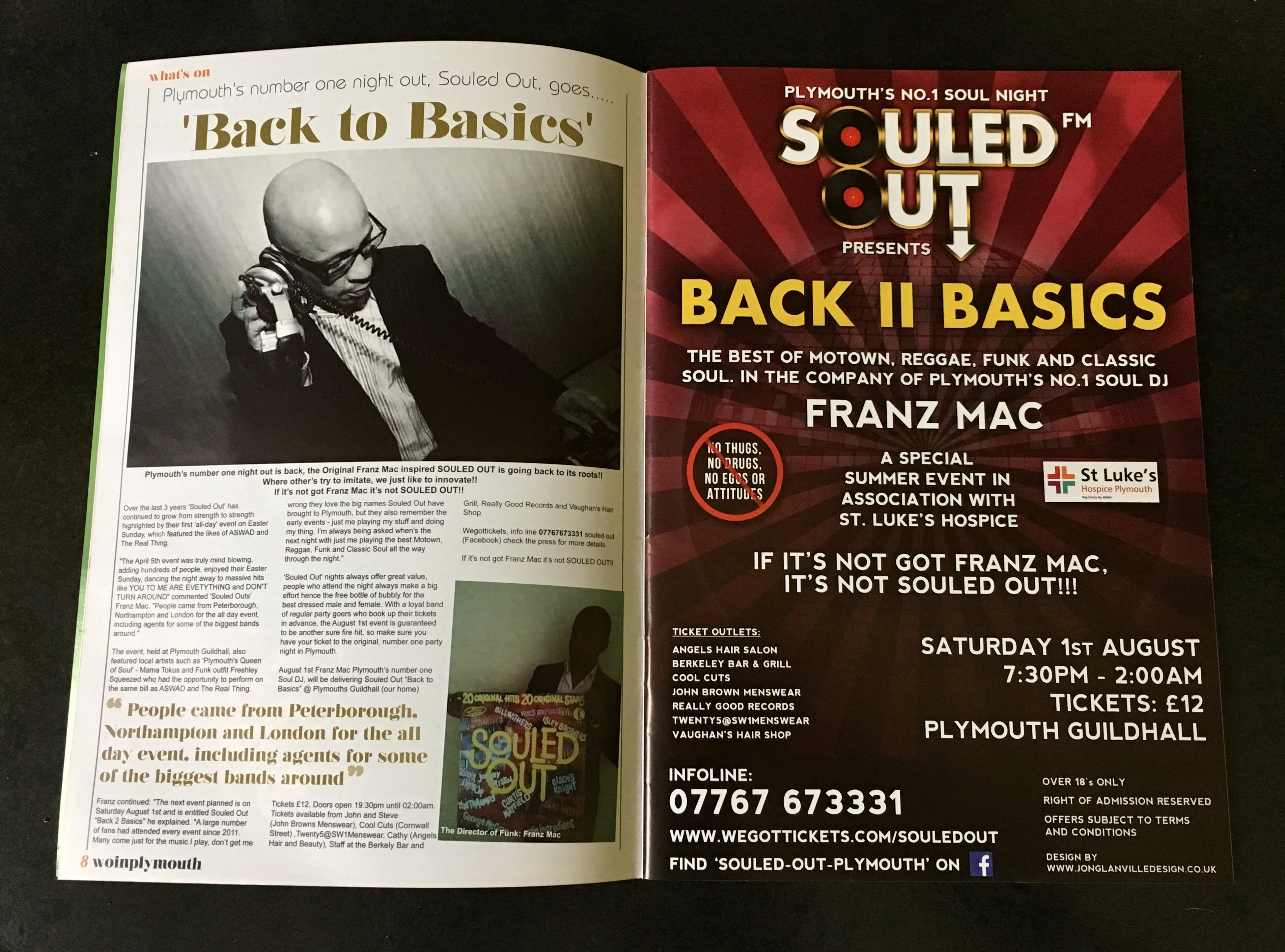 Souled Out summer music flyer featured in the May/June 2015 edition of What's On In Plymouth Magazine