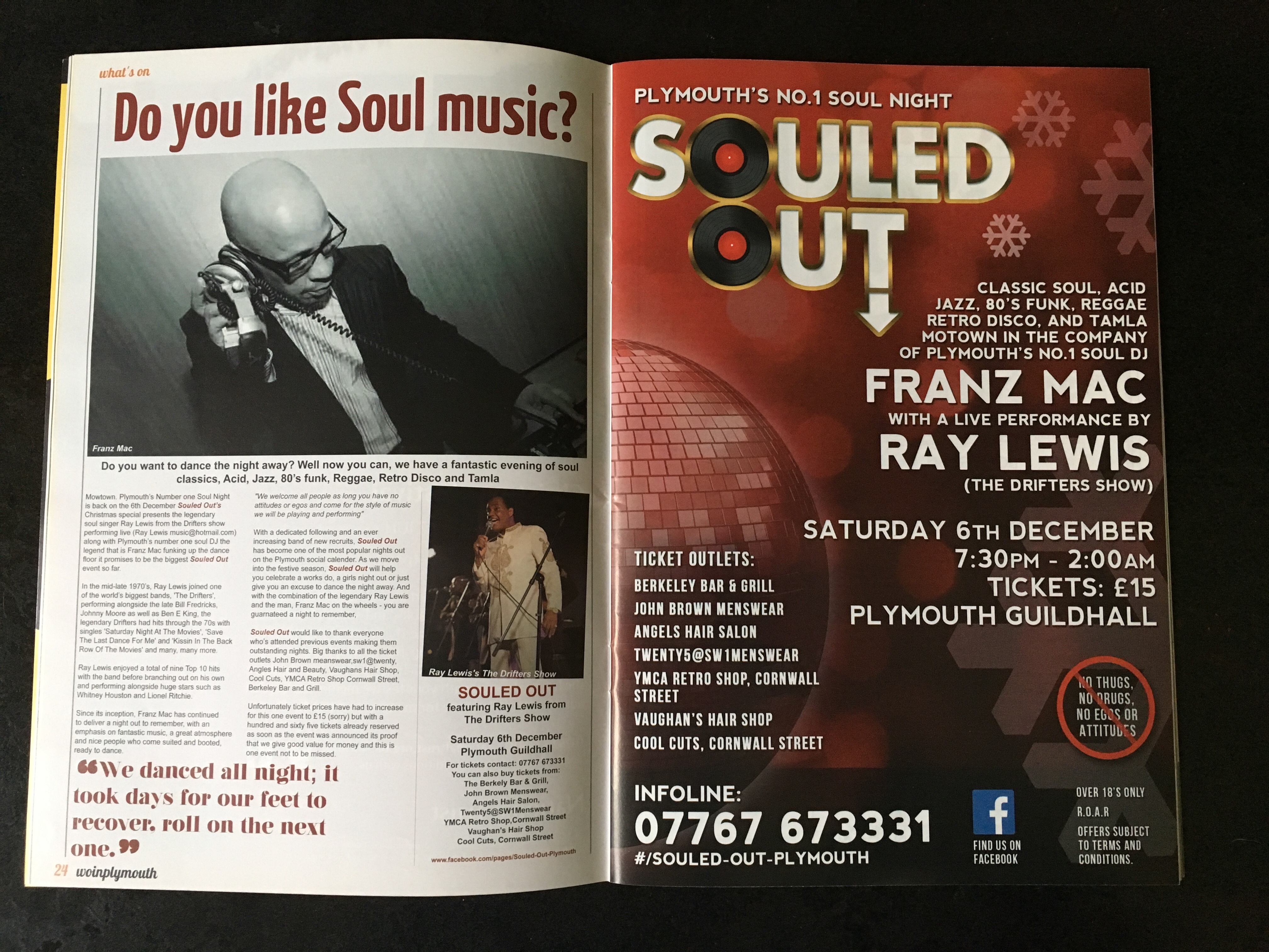 Souled Out Christmas music flyer featured in the Nov/Dec 2014 edition of What's On In Plymouth magazine