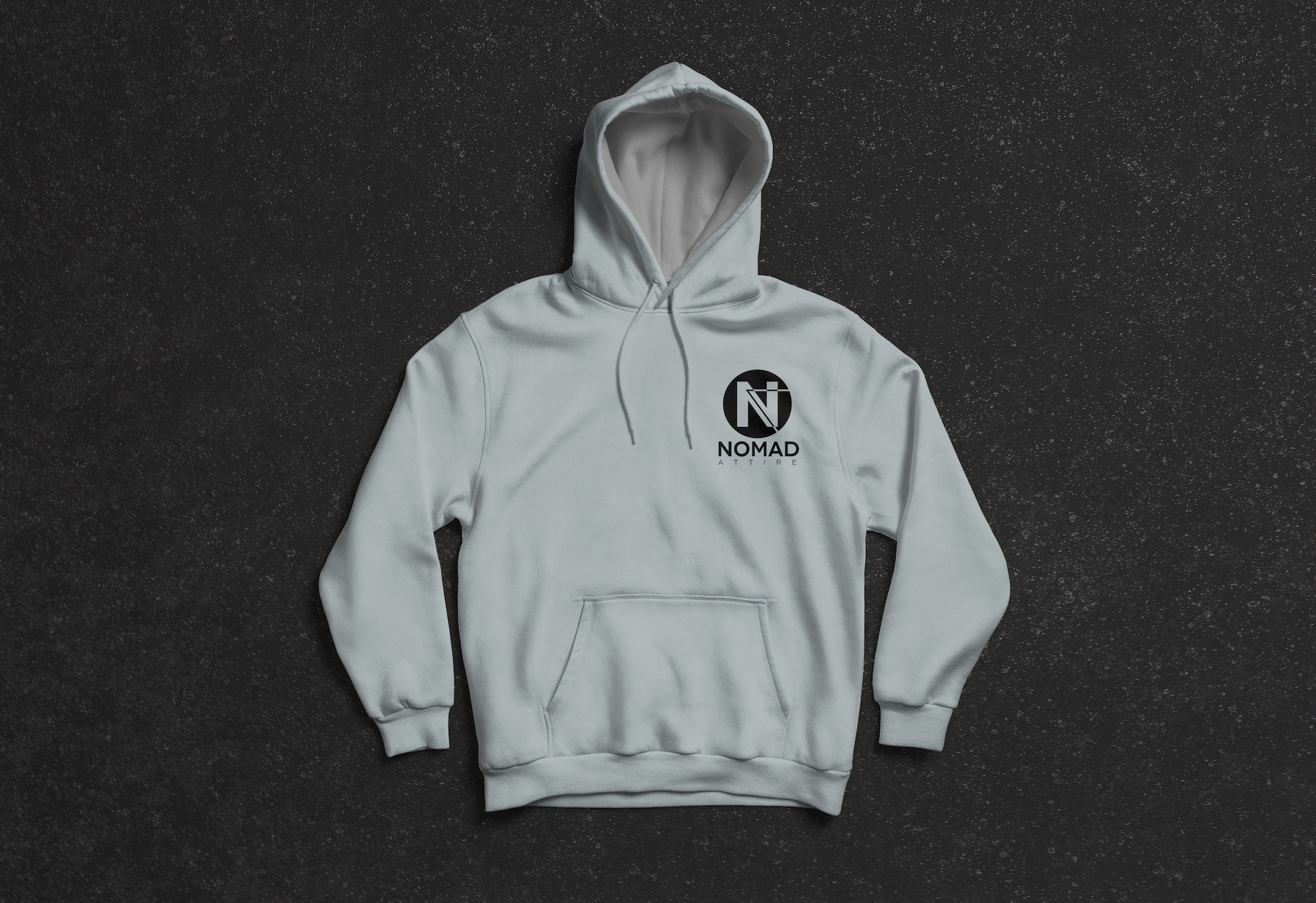 The Nomad Attire logo used for a grey hoodie.