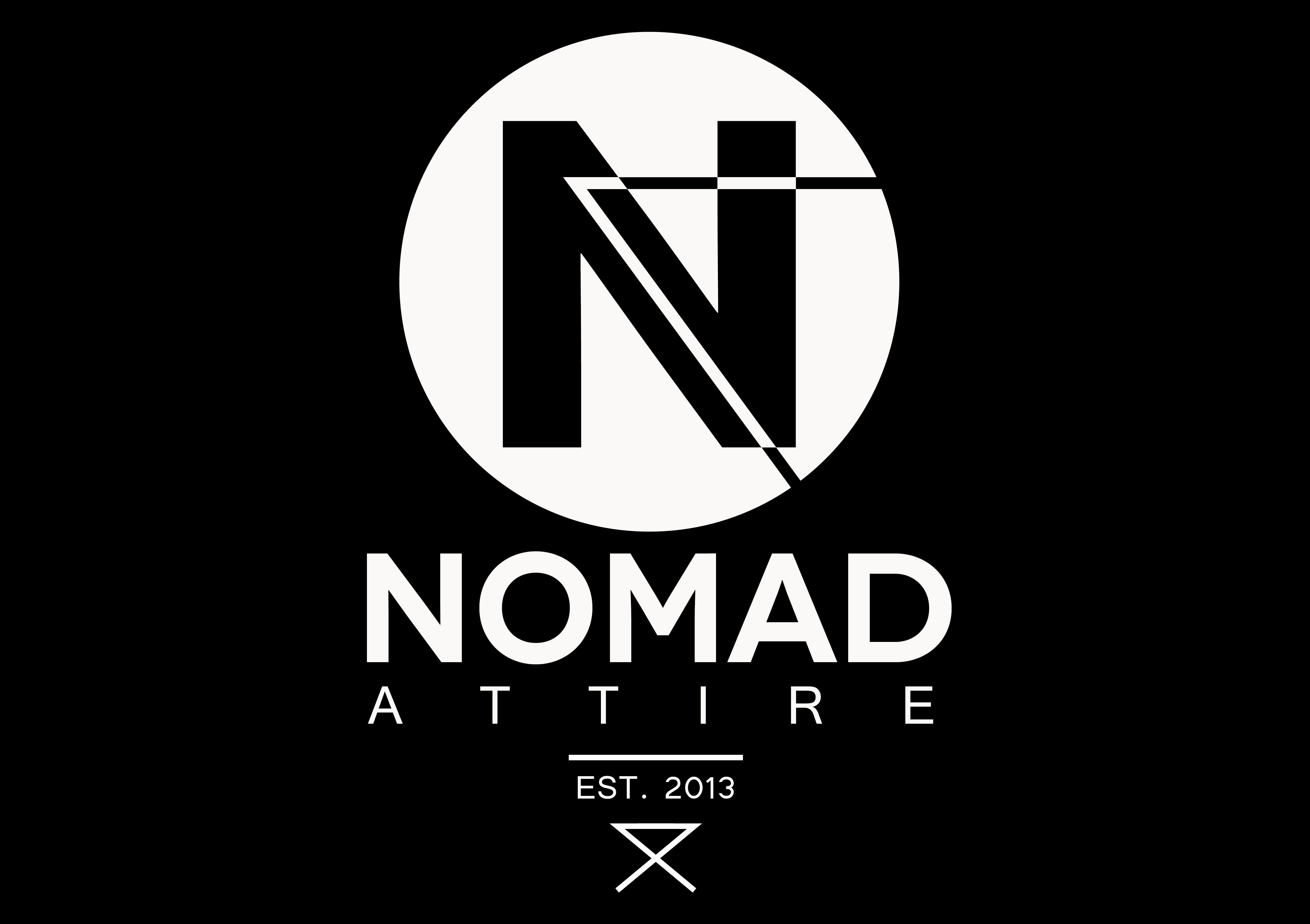 Logo Design with a dark background for Clothing Company Nomad Attire. Made by Jon Glanville - Plymouth Graphic Designer.""