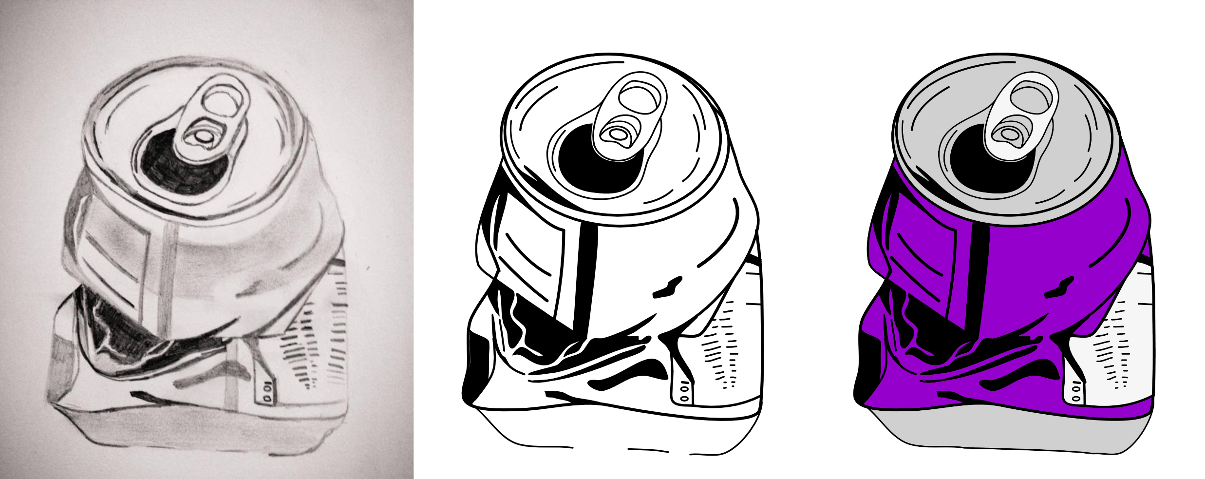 Sketches of coke cans used for the Seeking Yesterday rock album art