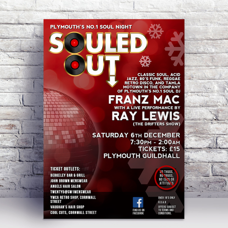 First music poster design for Plymouth based Soul event Souled Out, starring Ray Lewis from the Drifters