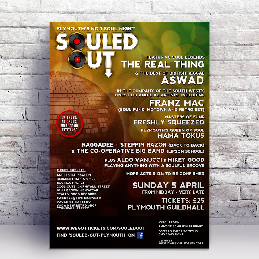 Second music poster design for Plymouth based Soul event Souled Out, starring The Real Thing and Aswad.