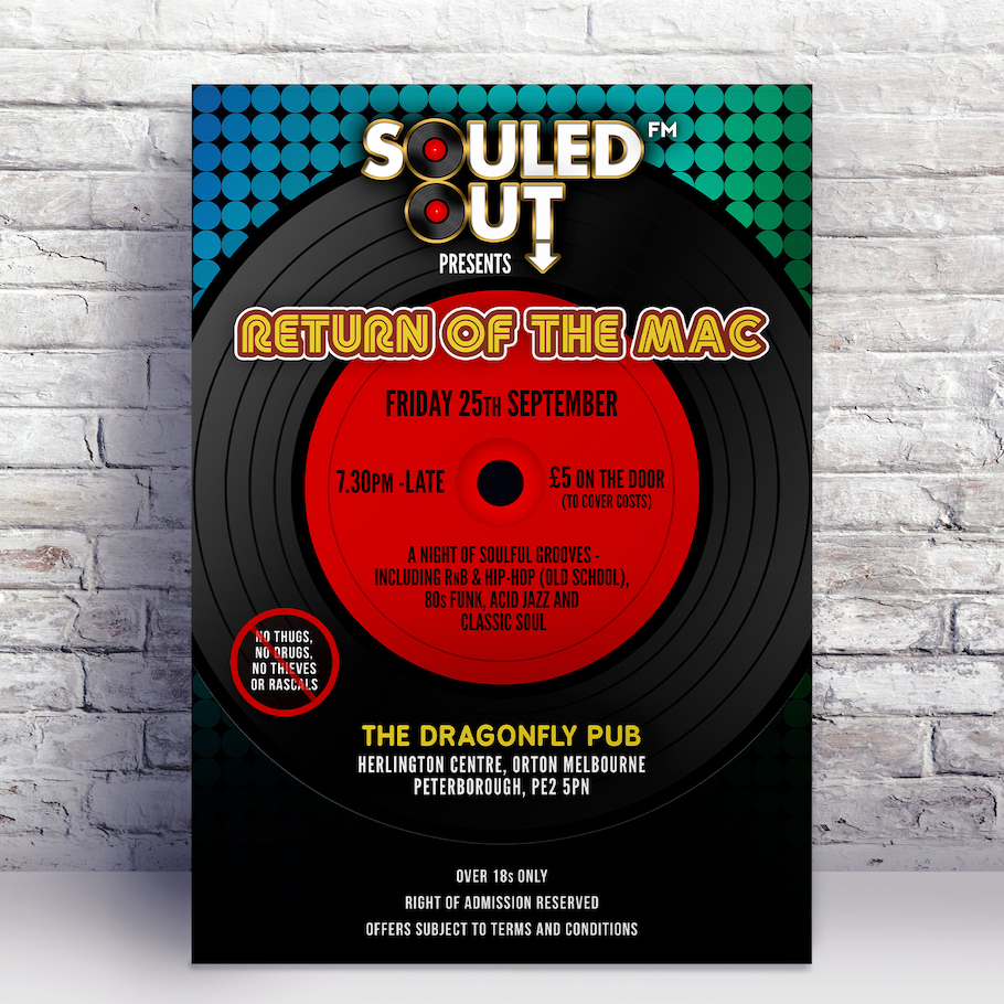 Final music poster design for Peterborough based Soul event Souled Out, starring DJ Franz Mac.