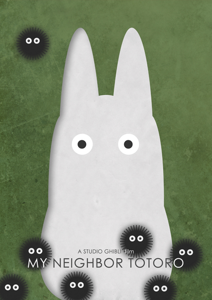 Alternative Studio Ghibli Movie Poster of My Neighbor Totoro featuring Chibi Totoro and Soot Sprites.