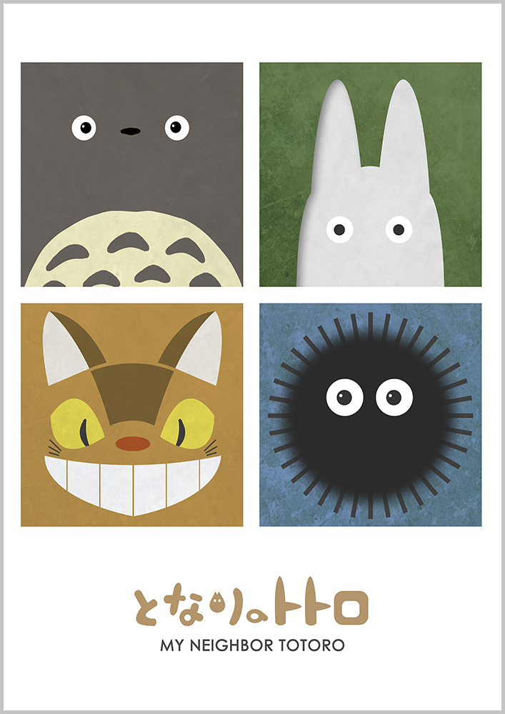 Alternative Studio Ghibli Movie Poster of My Neighbor Totoro featuring Totoro, Catbus, Chibi Totoro and a Soot Sprite.