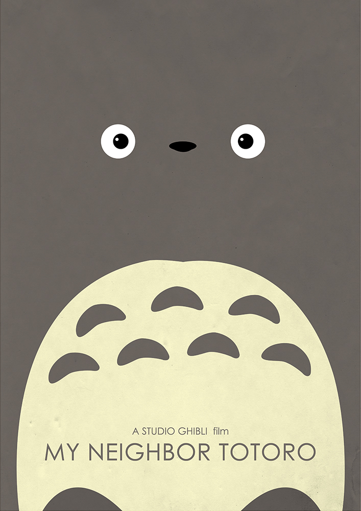 Alternative Studio Ghibli Movie Poster of My Neighbor Totoro featuring Totoro.