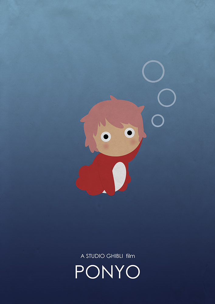 Alternative Studio Ghibli Movie Poster of Ponyo featuring Ponyo the Goldfish.