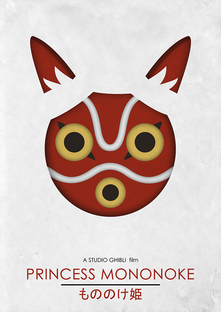 Alternative Studio Ghibli Movie Poster of Princess Mononoke featuring the San Mask.