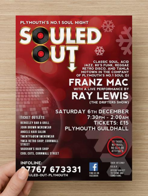 Front of a music flyer design for Plymouth based Soul event Souled Out, starring Ray Lewis from the Drifters