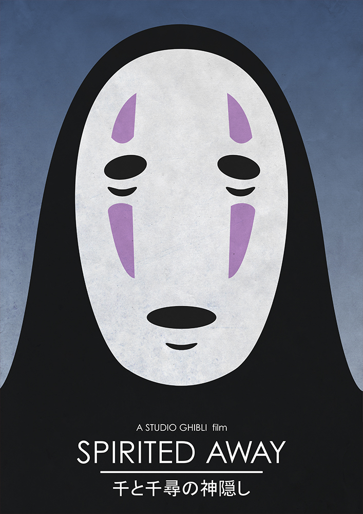 Alternative Studio Ghibli Movie Poster of Spirited Away featuring Kaonashi No Face.