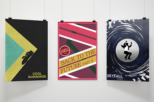 A collection of alternative movie and film posters including James Bond, Back to the Future and Cool Runnings. Made by Jon Glanville - Plymouth Graphic Designer.