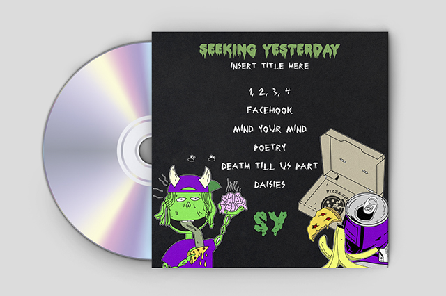 Music CD Album Cover Art for Plymouth Rock Band Seeking Yesterday.  Made by Jon Glanville - Plymouth Graphic Designer.
