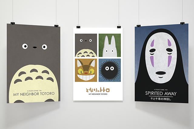 A collection of fan posters inspired by the Studio Ghibli franchise including My Neighbor Totoro, Ponyo and Spirited Away. Made by Jon Glanville - Plymouth Graphic Designer.
