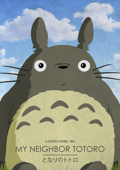 Alternative Studio Ghibli Movie Poster of My Neighbor Totoro featuring Totoro.